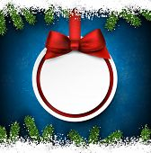 Christmas frame background with fir twigs and red ball. Round paper label on gift bow. Vector illustration.
