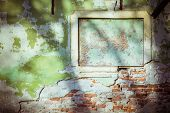 vintage green concrete brick wall background , old window