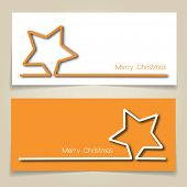 Christmas banners in gold and white, with simple continuous line and drop shadow  creating a Christmas star. EPS10 vector format
