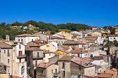 Panoramic view of Cancellara. Basilicata. Southern Italy.