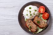 Delicious Meat Loaf With Rice On A Plate, Horizontal Top View