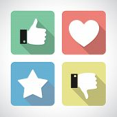 Like and dislike icons set