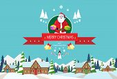pic of christmas claus  - Santa claus on christmas greeting card holding gift box presents with merry christmas and happy new year banner with snowman over winter snow village houses background - JPG