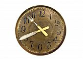 Dinner Lunch Time - Old Clock Face Dial With Fork And Knife Arrows