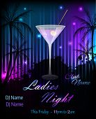 stock photo of ladies night  - Ladies night or party poster template with glass of pink martini - JPG