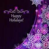 Abstract Christmas snowflakes purple vector background.