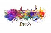 Derby Skyline In Watercolor