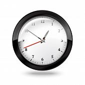 Black office clock isolated on white background. Vector