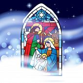 Stained glass window depicting Christmas scene against a might snow storm background. Christmas greeting card.