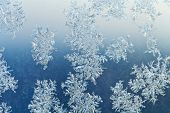 Frost On Window Glass Close Up In Winter Night