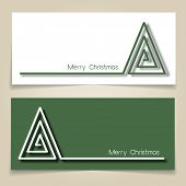 Christmas banners in green and white, with simple continuous line and drop shadow  creating a Christmas tree.