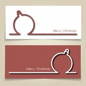 Christmas banners in red and white, with simple continuous line and drop shadow  creating a Christmas tree bauble.