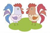 image of fighting-rooster  - Two cocks vector image - JPG