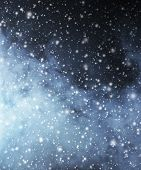 Abstract Christmas background. Smoke and a snowflakes.