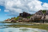 Enchanting Tourist Destination to Experience in Anse Source d'Argent with Huge Granite Rocks and Stunning Seascape, Located at Seychelles Islands.