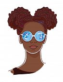 Young afro woman with blue kaleidoscopic glasses