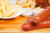 Sausage, french fries