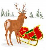 Christmas Reindeer With Santa Sleigh Vector