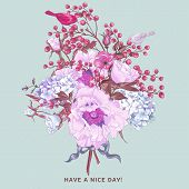 foto of hydrangea  - Gentle Spring Floral Bouquet with Birds - JPG