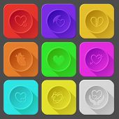 closed heart, protection love, unrequited love, heart and arrow, careful heart, atomic heart, love in hands. Color set vector icons.
