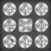 Globe set. Vector round and square steel buttons.