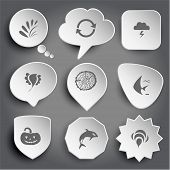 plant, recycle symbol, thunderstorm, bird, cut of tree, fish, pumpkin, killer whale, bee. White vector buttons on gray.