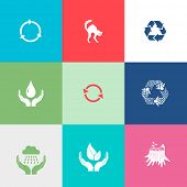 Nature set. Flat color vector icons.