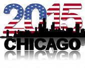 Chicago skyline 2015 flag text illustration