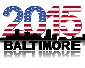 Baltimore skyline 2015 flag text illustration