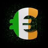 Euro symbol with Irish flag on hex code illustration