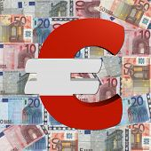 Euro symbol with Austrian flag on Euro currency illustration