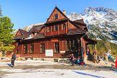 Morskie Oko Lake, Poland - March 14: Mountain Shelter House In Tatra Mountains