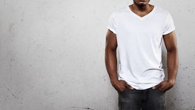 foto of apparel  - Young african man wearing white blank t - JPG