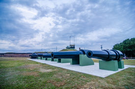 stock photo of cannon-ball  - cannons of Fort Moultrie on Sullivan - JPG