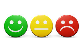 foto of emoticon  - Customer service and product quality feedback concept with three emoticon icons and symbol on round badges isolated on white background - JPG