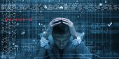 pic of binary code  - Conceptual image of troubled man against media screen with binary code - JPG