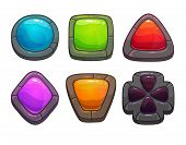 picture of talisman  - Set of cartoon colorful stones - JPG