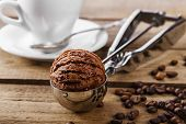 foto of chocolate spoon  - Chocolate coffee ice cream ball scoop spoon - JPG