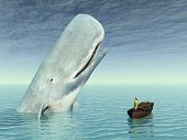 picture of sperm  - Computer generated 3D illustration with sperm whale and tourist in a boat - JPG