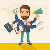 stock photo of tasks  - A young happy hipster Caucasian with beard has six arms doing multiple office tasks at once as a symbol of the ability to multitask - JPG