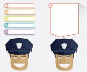 foto of policeman  - Policeman and blank message boards Vector illustration in flat style - JPG