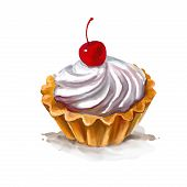 stock photo of whip-hand  - Cherry cupcake vector illustration  hand drawn  painted watercolor - JPG