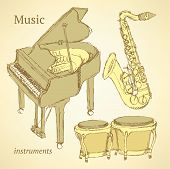 picture of wind instrument  - Sketch musical instrument in vintage style vector - JPG
