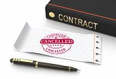 stock photo of abort  - Stamp cancelled with contract document as concept - JPG