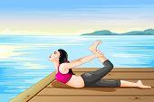 pic of dhanurasana  - vector illustration of lady practising yoga for wellness - JPG
