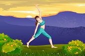 foto of virabhadrasana  - vector illustration of lady practising yoga for wellness - JPG