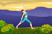 picture of virabhadrasana  - vector illustration of lady practising yoga for wellness - JPG