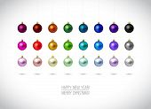 Colorful Christmas Ornaments Isolated On White Background. Hangi poster