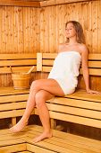 stock photo of sauna woman  - Image of young woman relaxing in sauna - JPG