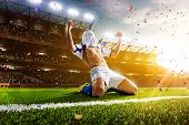 Soccer player in action panorama poster